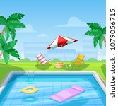 hotel swimming pool with chaise ...   Shutterstock .eps vector #1079056715