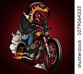 devil riders riding a classic... | Shutterstock .eps vector #1079064335