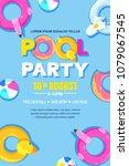 summer pool party  vector... | Shutterstock .eps vector #1079067545