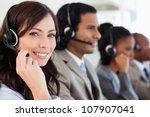 smiling worker doing her job... | Shutterstock . vector #107907041