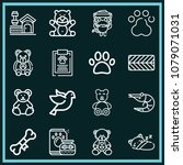 set of 16 animals outline icons ... | Shutterstock .eps vector #1079071031