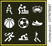 set of 9 sports filled icons... | Shutterstock .eps vector #1079078087