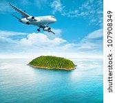 jet plane over the tropical... | Shutterstock . vector #107908349