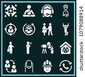 set of 16 people filled icons...   Shutterstock .eps vector #1079088914