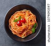 pasta  spaghetti with tomato... | Shutterstock . vector #1079093597