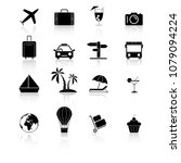 set travel holiday black icons... | Shutterstock .eps vector #1079094224