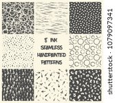 set of 8 seamless patterns.... | Shutterstock .eps vector #1079097341