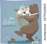 cute birthday hares and bear | Shutterstock .eps vector #1079102825