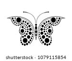 black lace butterfly on white... | Shutterstock .eps vector #1079115854