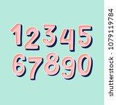 cute pink handdrawn numbers set ... | Shutterstock .eps vector #1079119784
