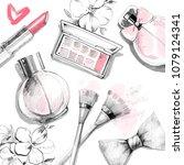 perfume bottle  make up artist... | Shutterstock . vector #1079124341