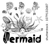 set of mermaid sketches... | Shutterstock . vector #1079132687