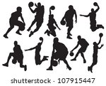 vector silhouettes of basketball | Shutterstock .eps vector #107915447