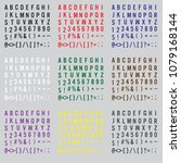 alphabet with number and symbol ... | Shutterstock .eps vector #1079168144