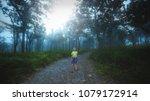 a children walk a way in forest ... | Shutterstock . vector #1079172914