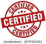 certified round red grunge stamp | Shutterstock .eps vector #1079181341