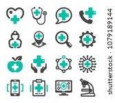 healthcare icon set | Shutterstock .eps vector #1079189144