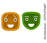 Happy Smiley Face Icons  Flat...