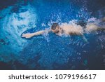 male swimmer at the swimming... | Shutterstock . vector #1079196617