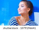 portrait of female painter... | Shutterstock . vector #1079196641