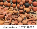 clay pots for storing water are ... | Shutterstock . vector #1079198027