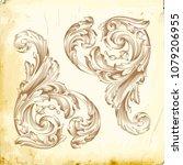 retro baroque decorations...   Shutterstock .eps vector #1079206955