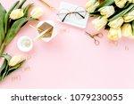 female home office desk.... | Shutterstock . vector #1079230055