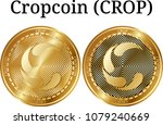 set of physical golden coin... | Shutterstock .eps vector #1079240669