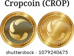 set of physical golden coin... | Shutterstock .eps vector #1079240675
