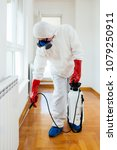 exterminator in work wear... | Shutterstock . vector #1079250911