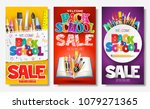back to school sale creative ad ... | Shutterstock .eps vector #1079271365