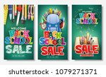 decorative back to school sale... | Shutterstock .eps vector #1079271371