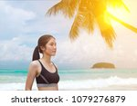 woman bikini on beach summer... | Shutterstock . vector #1079276879