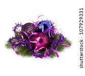 Christmas ball decoration isolated on white background - stock photo