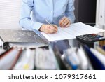 female bookkeeper or financial... | Shutterstock . vector #1079317661