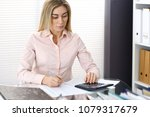 portrait of female bookkeeper... | Shutterstock . vector #1079317679