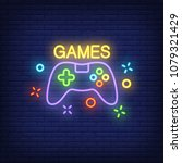 console with games lettering.... | Shutterstock .eps vector #1079321429