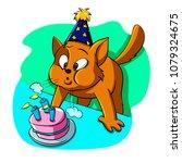 cat blowing candles | Shutterstock . vector #1079324675