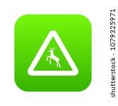 deer traffic warning sign icon... | Shutterstock .eps vector #1079325971