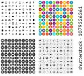 100 movie icons set vector in 4 ... | Shutterstock .eps vector #1079326361