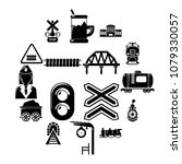 train railroad icons set.... | Shutterstock .eps vector #1079330057