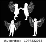 illustration with small angels... | Shutterstock .eps vector #1079332085