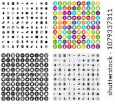 100 lunch icons set vector in 4 ... | Shutterstock .eps vector #1079337311