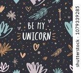 cute unicorn sign  white hand... | Shutterstock .eps vector #1079339285
