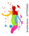 Colorful bright ink splashes and happy person- teenager or woman made of them jumping - stock vector
