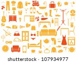 set of furniture fashion... | Shutterstock .eps vector #107934977