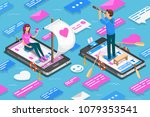 virtual relationships and...   Shutterstock .eps vector #1079353541