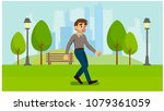 healthy lifestyle. walk in the... | Shutterstock .eps vector #1079361059