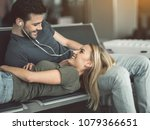 outgoing male telling with... | Shutterstock . vector #1079366651