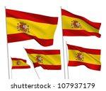 spain vector flags set. 5 wavy... | Shutterstock .eps vector #107937179